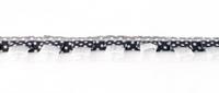 Satinband mit Organza und Punkten schwarz 1,9cm 001