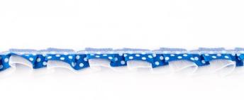Satinband mit Organza und Punkten kobaltblau 1,9cm