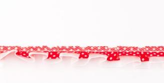 Satinband mit Organza und Punkten rot 1,9cm