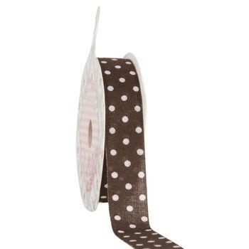 Clayre & Eef Band Polyester braun weiß Punkte Breite: 1,5cm Länge: 4m