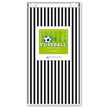 Geschenktüten Tüten Set Streifen schwarz weiß Fußball 6 Stück 15x29cm