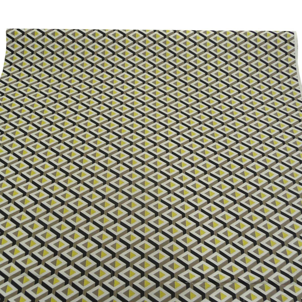 gardinenstoff stoff dekostoff meterware geometrisches muster gelb grau schwarz stoffe wohnstoffe. Black Bedroom Furniture Sets. Home Design Ideas