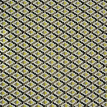 Gardinenstoff Stoff Dekostoff Meterware Geometrisches Muster gelb grau schwarz