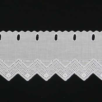 Bistrogardine Scheibengardine Meterware Batist weiß mit Stickerei Höhe:15cm – Bild 1
