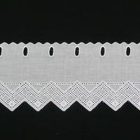 Bistrogardine Scheibengardine Meterware Batist weiß mit Stickerei Höhe:15cm 001