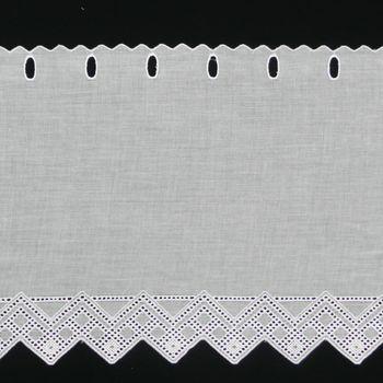 Bistrogardine Scheibengardine Meterware Batist weiß mit Stickerei Breite:27cm – Bild 1