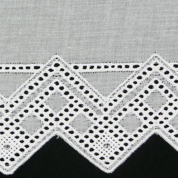 Bistrogardine Scheibengardine Meterware Batist weiß mit Stickerei Breite:27cm – Bild 2