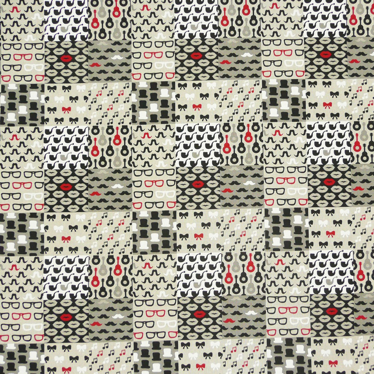 gardinenstoff stoff dekostoff meterware patchwork moustache brille noten pfeife ebay. Black Bedroom Furniture Sets. Home Design Ideas