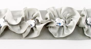 Satinband Rüschen mit Glitzer Stein grau Breite: 4cm