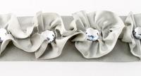 Satinband Rüschen mit Glitzer Stein grau Breite: 4cm 001