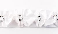 Satinband Rüschen mit Glitzer Stein weiß Breite: 4cm 001
