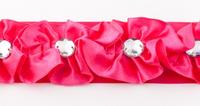 Satinband Rüschen mit Glitzer Stein pink Breite: 4cm 001