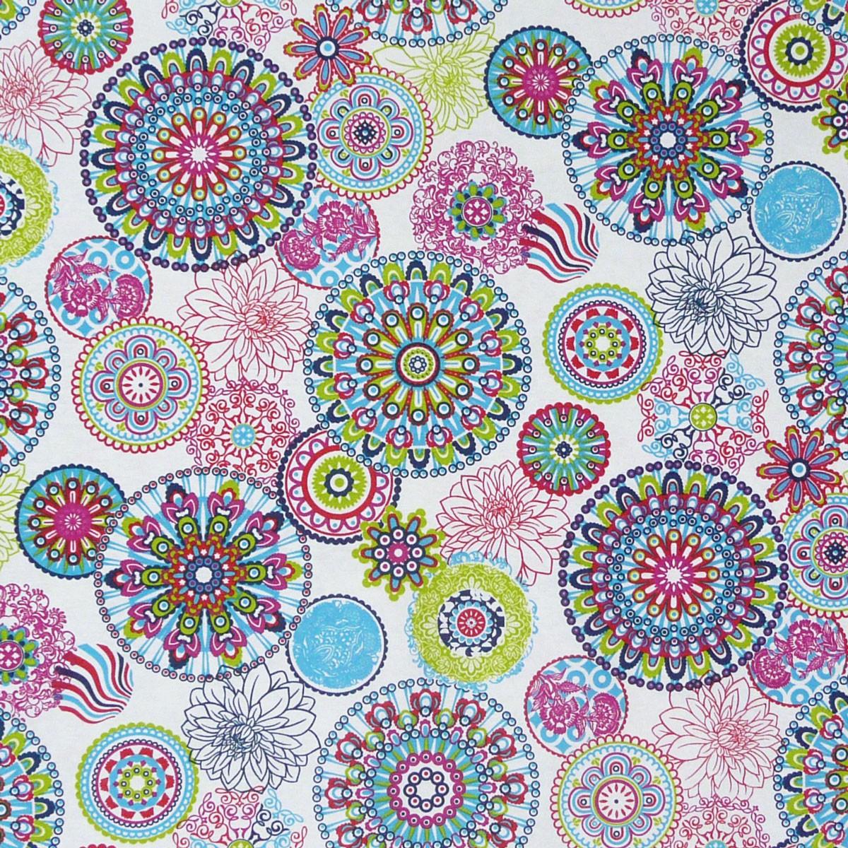 Baumwollstoff Gardinenstoff Dekostoff Blumen Mandala Muster Bunt 2