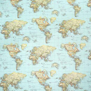 Gardinenstoff Stoff Dekostoff Weltkarte blau