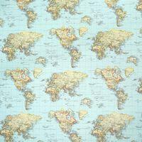 Gardinenstoff Stoff Dekostoff Weltkarte blau 001