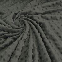 Fleece Minky dots Noppen dunkelgrau Kuschel Stoff Flausch