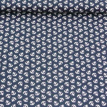 Baumwollstoff Stoff Meterware Maritim dunkelblau mit weißen Ankern