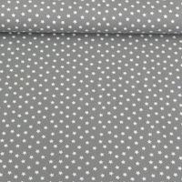 Jersey Stoff Sterne hellgrau weiß  001