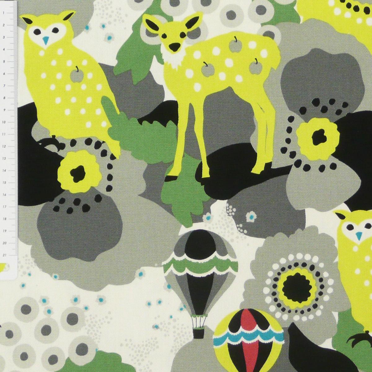 stoff canvas kayo horaguchi eule bambi grau gelb baumwollstoff 1 10m breite stoffe stoffe. Black Bedroom Furniture Sets. Home Design Ideas