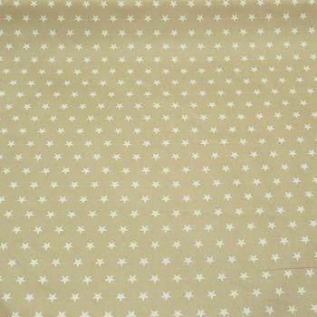 Tischdeckenstoff Wachstuch beschichtete Baumwolle beige Sterne weiß