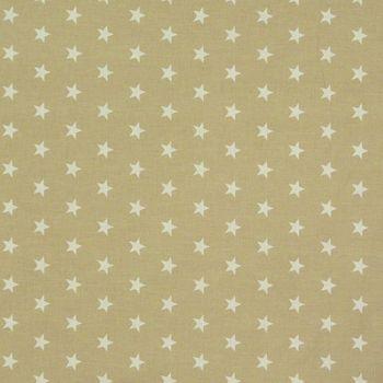 Baumwollstoff weiß beige Sterne weiß Dekostoff