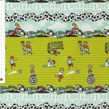 Gardinenstoff Verdunkelungsstoff Verdunkelung Meterware Kinder Fußball grün bunt – Bild 2