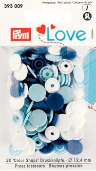 Prym Color Snaps Druckknöpfe Ø12,4mm hellblau dunkelblau weiß je 10 Stück