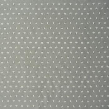 Tischdeckenstoff Wachstuch beschichtete Baumwolle grau Sterne weiß