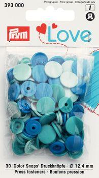 Prym Color Snaps Druckknöpfe Ø12,4mm blau Töne 30 Stück