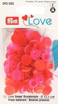 Prym Color Snaps Druckknöpfe Ø12,4mm pink rot orange 30 Stück