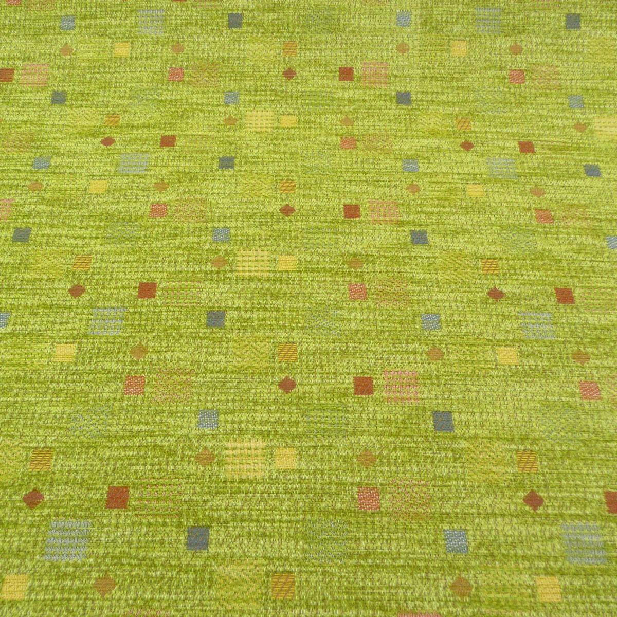 Möbelstoff Bezugsstoff WALSUM grün mit Kästchen