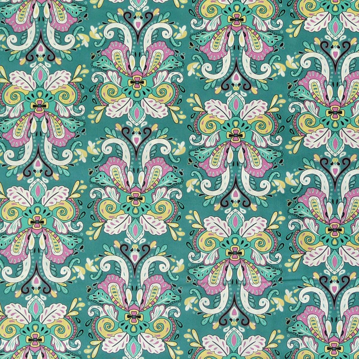 Art Gallery ANNE ELISE Fantasie Muster türkis Baumwollstoff