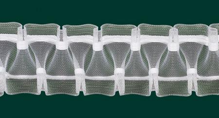 Gardinenband Faltenband Smokband 50mm transparent variabel