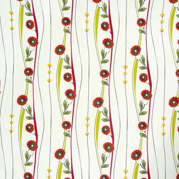 Dekostoff Blumen Ranken rot Gardinenstoff Meterware