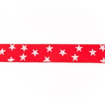 Gummi Band rot mit vielen kleinen weißen Sternen Meterware Breite: 2,5cm