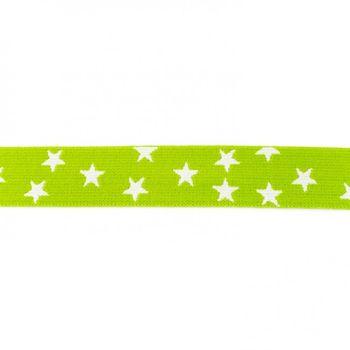 Gummi Band apfelgrün mit vielen kleinen weißen Sternen Meterware Breite: 2,5cm