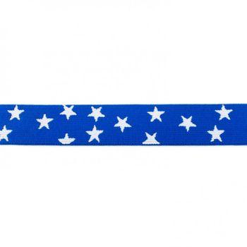 Gummi Band royal blau mit vielen kleinen weißen Sternen Meterware Breite: 2,5cm