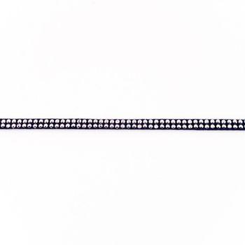 Wildleder Imitat Band dunkelblau mit silber farbigen Glitzer Steinen Meterware Breite: 0,5cm