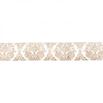 Baumwollband creme mit Ornament grau Breite: 2,5cm