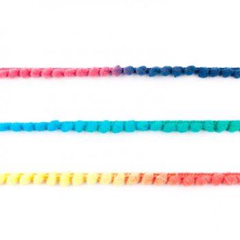 Bommelborte PomPom Borte Zierband mini Farbverlauf grün gelb pink Breite: 0,4cm