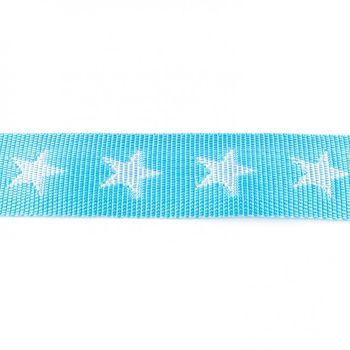 Gurtband hellblau mit Sterne weiß Breite: 4cm