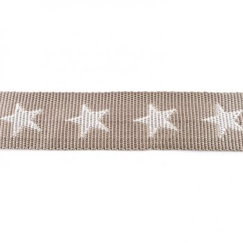 Gurtband taupe mit Sterne weiß Breite: 4cm