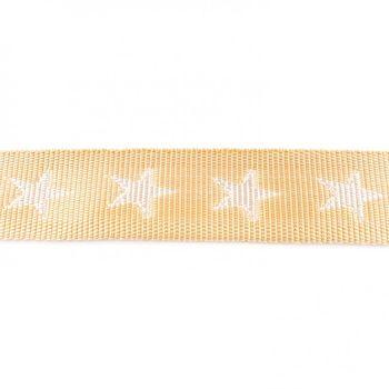 Gurtband beige mit Sterne weiß Breite: 4cm