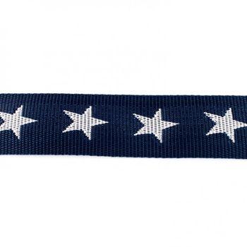 Gurtband dunkelblau mit Sterne weiß Breite: 4cm