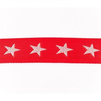 Gurtband rot mit Sterne weiß Breite: 4cm