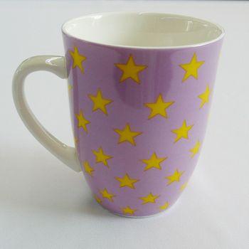 Mea Living Kaffee Tasse Becher lila mit Sterne gelb
