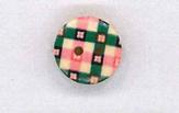 Holzknopf Maschinen waschbar rund 15mm kariert rosa grün