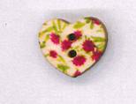 Holzknopf Maschinen waschbar Herz 1,8x1,8cm kleine Rosen pink