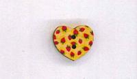 Holzknopf Maschinen waschbar Herz 1,8x1,8cm kleine Erdbeeren rot gelb