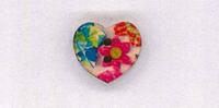 Holzknopf Herz 1,8x1,8cm Blume blau pink